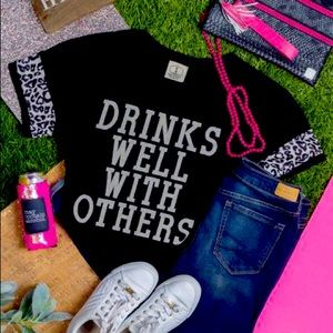 NWT Drinks Well With Others black & animal print T